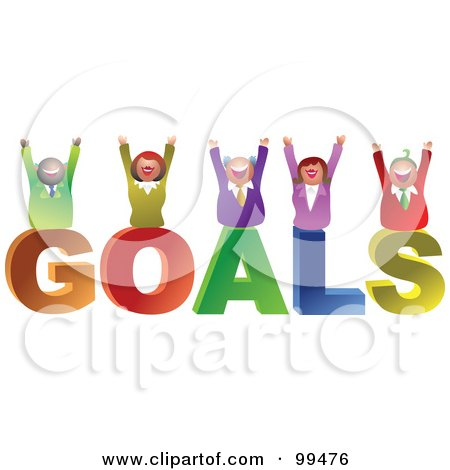 Royalty-Free (RF) Clipart Illustration of a Business Team Celebrating On GOALS by Prawny