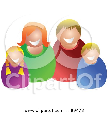Royalty-Free (RF) Clipart Illustration of a Happy Caucasian Family Of Four by Prawny