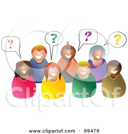 Royalty-Free (RF) Clipart Illustration of a Group Of People With Questions by Prawny