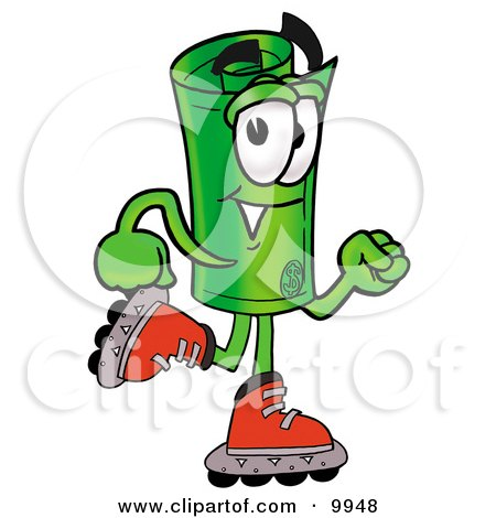 Clipart Picture of a Rolled Money Mascot Cartoon Character Roller Blading on Inline Skates by Toons4Biz