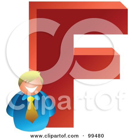 Royalty-Free (RF) Clipart Illustration of a Businessman With A Large Letter F by Prawny