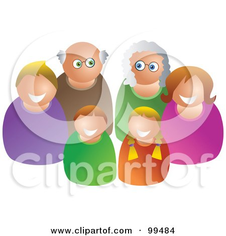 Royalty-Free (RF) Clipart Illustration of a Happy White Family Of Three Generations by Prawny