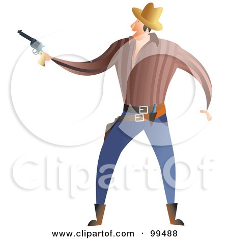 Royalty-Free (RF) Clipart Illustration of a Male Gunslinger Holding A Pistol by Prawny