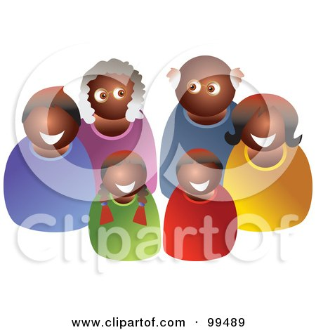 Royalty-Free (RF) Clipart Illustration of a Happy Black Family Of Three Generations by Prawny