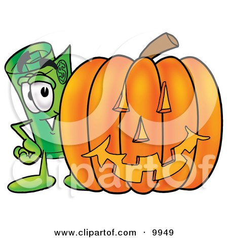 Clipart Picture of a Rolled Money Mascot Cartoon Character With a Carved Halloween Pumpkin by Toons4Biz