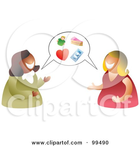 Royalty-Free (RF) Clipart Illustration of a Two Women Having A Conversation With A Balloon by Prawny