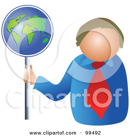 Royalty-Free (RF) Clipart Illustration of a Business Man Holding A Globe Sign by Prawny