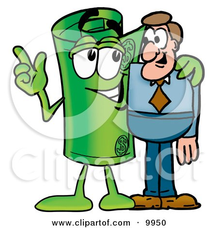 Clipart Picture of a Rolled Money Mascot Cartoon Character Talking to a Business Man by Toons4Biz