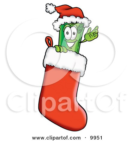 Clipart Picture of a Rolled Money Mascot Cartoon Character Wearing a Santa Hat Inside a Red Christmas Stocking by Toons4Biz