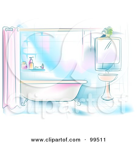 Royalty-Free (RF) Clipart Illustration of an Artistic Scene Of A Residential Bathroom With A Tub And Sink by BNP Design Studio