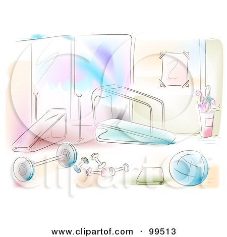 Royalty-Free (RF) Clipart Illustration of an Artistic Scene Of A Gym Room by BNP Design Studio