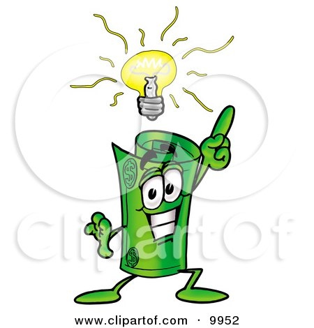 Clipart Picture of a Rolled Money Mascot Cartoon Character With a Bright Idea by Toons4Biz