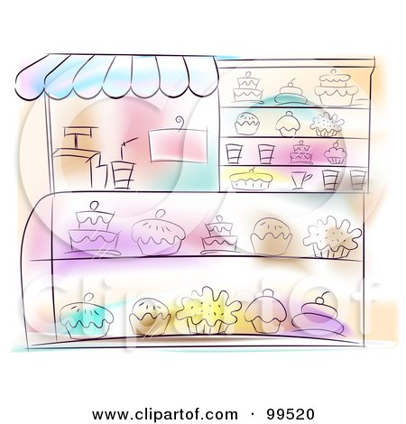 Royalty-Free (RF) Clipart Illustration of an Artistic Scene Of A Bakery With Sweets In The Display by BNP Design Studio