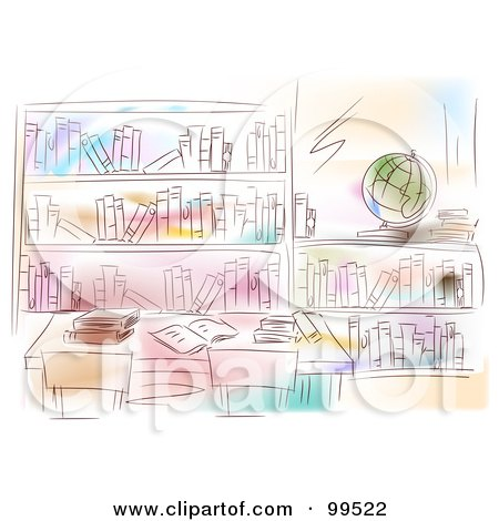 Royalty-Free (RF) Clipart Illustration of an Artistic Scene Of A Library Interior With A Globe And Books On The Shelves by BNP Design Studio