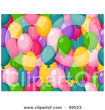 Royalty-Free (RF) Clipart Illustration of a Seamless Colorful Party Balloon Pattern Design Background by BNP Design Studio