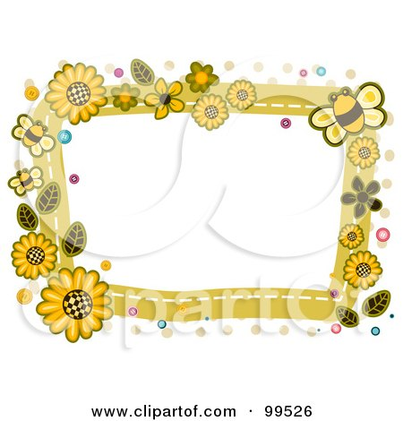 Royalty-Free (RF) Clipart Illustration of a White Frame Bordered In Sunflowers And Bees by BNP Design Studio