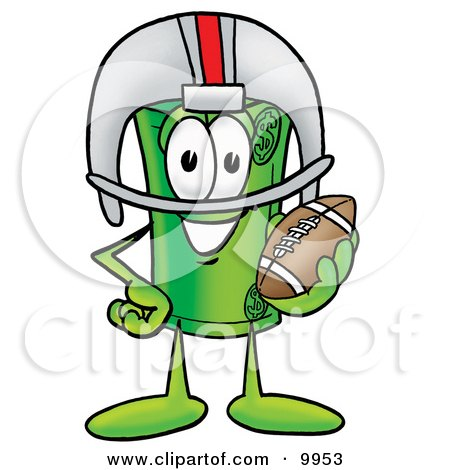 Clipart Picture of a Rolled Money Mascot Cartoon Character in a Helmet, Holding a Football by Toons4Biz