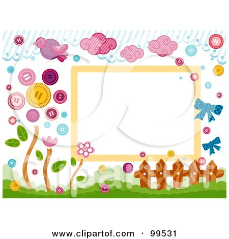Royalty-Free (RF) Clipart Illustration of a Frame Of Birds, Clouds, Buttons, A Fence And Flowers by BNP Design Studio
