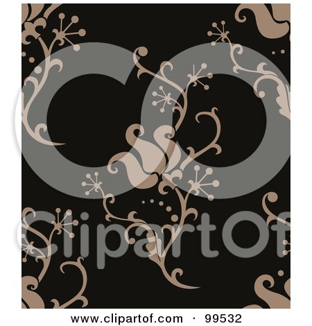 Royalty-Free (RF) Clipart Illustration of a Seamless Taupe And Black Damask Pattern Design Background by BNP Design Studio