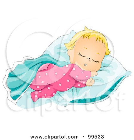 Cute Baby Girl Sleeping With Her Blanket And Pillow Posters, Art Prints