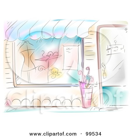 Royalty-Free (RF) Clipart Illustration of an Artistic Scene Of A Boutique Facade With Clothes In The Window by BNP Design Studio