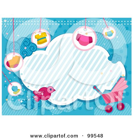 Royalty-Free (RF) Clipart Illustration of a Cloud Framed With Baby Items Over Blue by BNP Design Studio