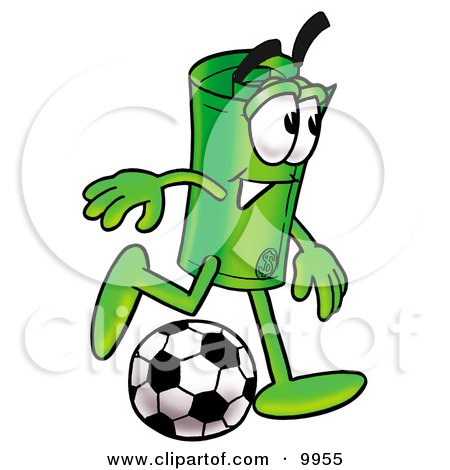 Clipart Picture of a Rolled Money Mascot Cartoon Character Kicking a Soccer Ball by Toons4Biz