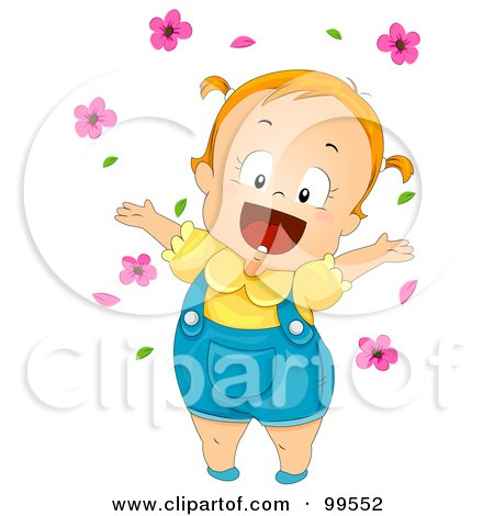 Cute Baby Girl Playing In Pink Flowers Posters, Art Prints