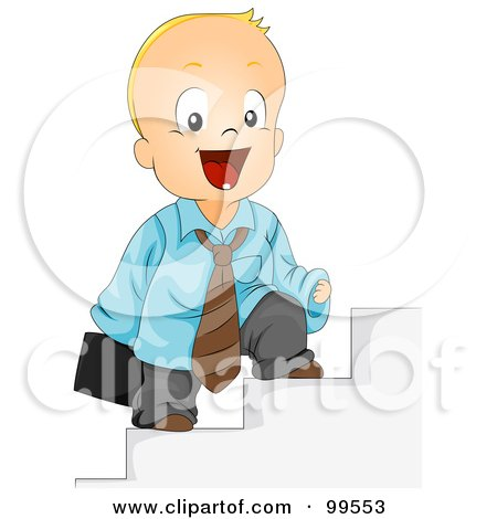 Royalty-Free (RF) Clipart Illustration of a Baby Businessman Standing On Steps by BNP Design Studio