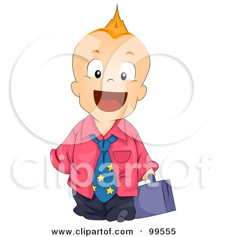 Royalty-Free (RF) Clipart Illustration of a Baby Boy With A Mohawk, Dressed As A Businessman by BNP Design Studio