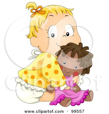 Cute Baby Girl Hugging Her Doll Posters, Art Prints