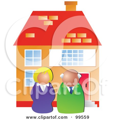 Royalty-Free (RF) Clipart Illustration of Two Real Estate Agents In Front Of A House by Prawny
