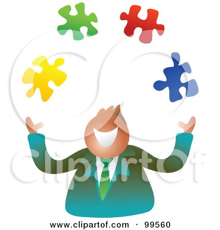 Royalty-Free (RF) Clipart Illustration of a Happy Businsesman Juggling Puzzle Pieces by Prawny
