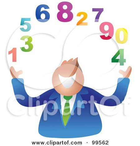 Royalty-Free (RF) Clipart Illustration of a Businessman Juggling Numbers by Prawny