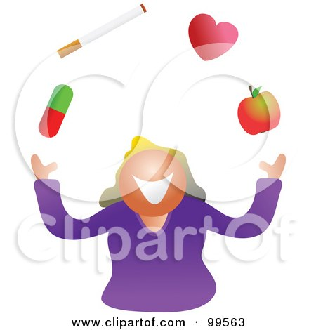 Royalty-Free (RF) Clipart Illustration of a Woman Juggling Her Health by Prawny