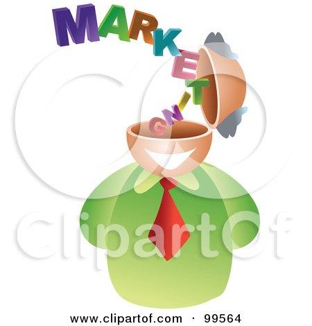 Royalty-Free (RF) Clipart Illustration of a Businessman With A Marketing Brain by Prawny