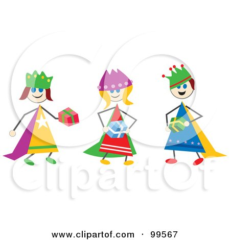 Royalty-Free (RF) Clipart Illustration of a Stick Children Dressed As The Three Wise Men by Prawny