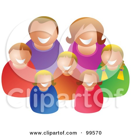 Royalty-Free (RF) Clipart Illustration of a Happy Caucasian Family Of Seven by Prawny
