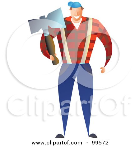 Royalty-Free (RF) Clipart Illustration of a Male Lumberjack Carrying An Ax by Prawny