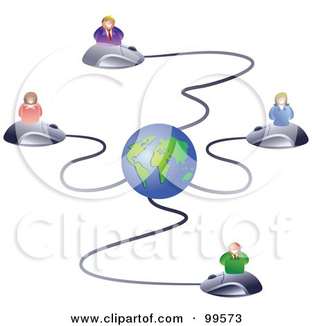 Royalty-Free (RF) Clipart Illustration of a Business Team On Computer Mice Connected To A Globe by Prawny