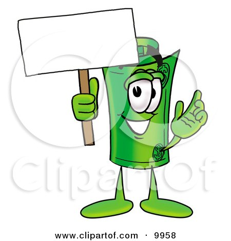Clipart Picture of a Rolled Money Mascot Cartoon Character Holding a Blank Sign by Toons4Biz