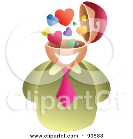 Royalty-Free (RF) Clipart Illustration of a Businessman With A Love Brain by Prawny