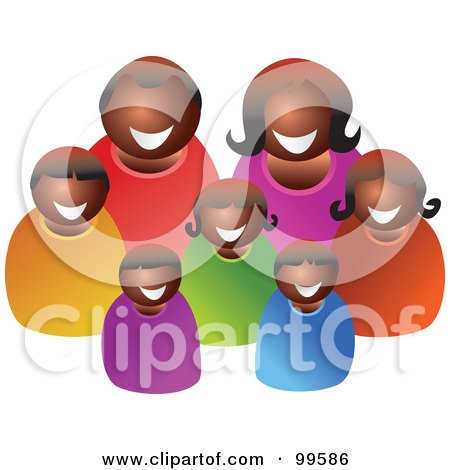 Royalty-Free (RF) Clipart Illustration of a Happy Black Family of Seven by Prawny