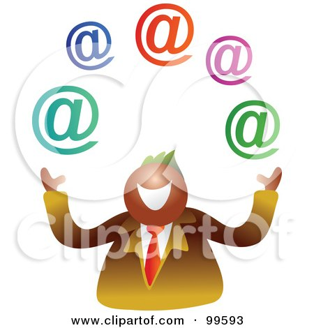 Royalty-Free (RF) Clipart Illustration of a Businessman Juggling Email Symbols by Prawny