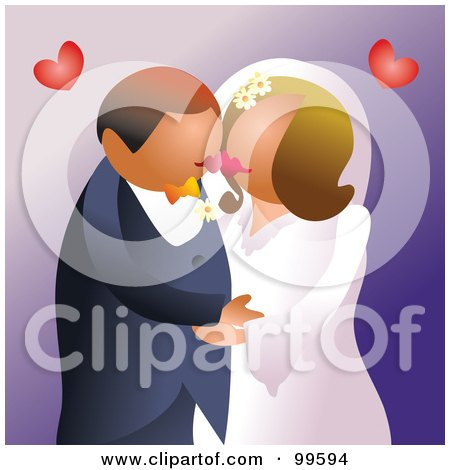 Royalty-Free (RF) Clipart Illustration of a Romantic Wedding Couple Kissing At Their Ceremony by Prawny