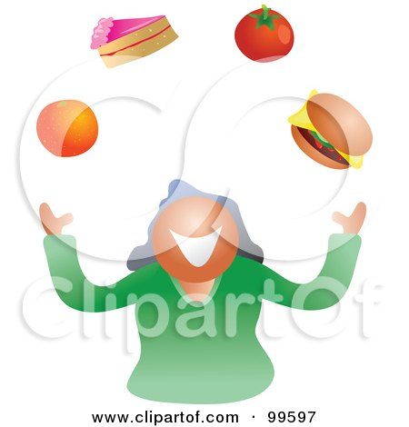Royalty-Free (RF) Clipart Illustration of a Woman Juggling Foods by Prawny