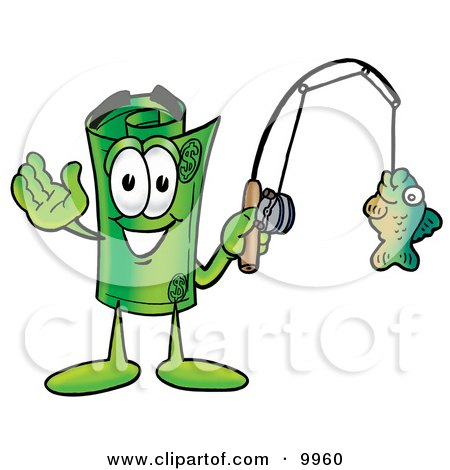 Royalty free rf rolled money mascot clipart for Fish for cash