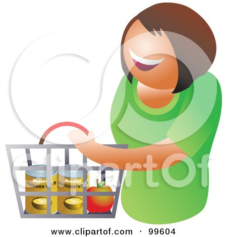 Royalty-Free (RF) Clipart Illustration of a Happy Woman Carrying A Shopping Basket by Prawny