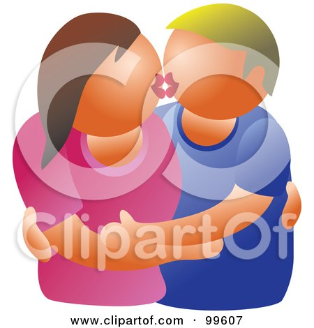 Royalty-Free (RF) Clipart Illustration of a Caucasian Couple Embracing And Kissing by Prawny