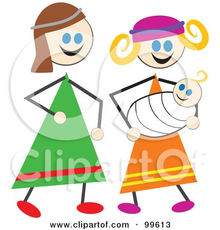 Stick Children Dressed As Mary And Joseph Posters, Art Prints